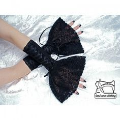 Fingerless Gloves Wristwarmers Gothic Corset lacing HAND-SEWN