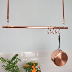 Copper Ceiling Pot and Pan Rack, Rail. This handy Ceiling Rack is a great storage solution for all o Copper Ceiling, Ceiling Hooks, Pot Rack Hanging, Hanging Pots, Ikea Hacks, Pan Storage, Copper Pans, Kitchen Storage Solutions, Kitchen Rack