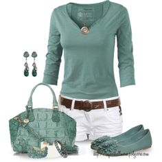Cute Teal & White spring - summer outfit
