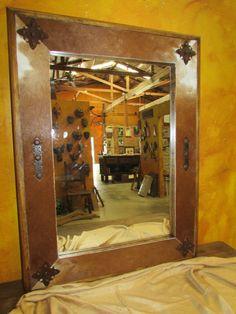 Bathroom Vanity Cowhide Medallion Mirror Wood 30x36 Rustic Cowboy Clavos