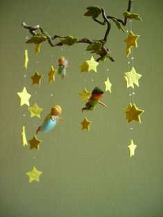 peter pan, wendy and tinkerbell felt mobile  -   Great idea for a mobile for a seasonal nature display. I may try one with spring fairies instead of walt disney charactors.