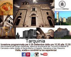 Per le Giornate Europee del Patrimonio invadiamo il centro storico di Tarquinia! Apertura straordinaria e gratuita di alcune delle chiese e delle torri più belle, visita, scatta una foto e condividi il tuo patrimonio utilizzando i TAG #INVASIONIDIGITALI #GIORNATEDELPATRIMONIO #ILMIOPATRIMONIO FACCIAMO CONOSCERE A TUTTI LA BELLEZZA DI TARQUINIA!