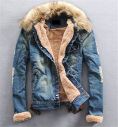 Men Winter Warm Fur Collar Denim Jacket Fleece Thick Padded Coat Outwear Parka in Clothes, Shoes & Accessories, Men's Clothing, Coats & Jackets | eBay