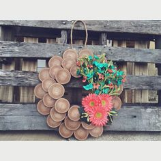 Coral and teal wood slice wreath Wreath Crafts, Diy Wreath, Decor Crafts, Diy Crafts, Wood Slice Crafts, Wooden Crafts, Christmas Projects, Christmas Crafts, Christmas Ornaments