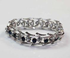 Vintage Crown Trifari Sapphire Rhinestone Bracelet Silvertone Modernist Design #Trifari #Link