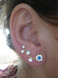 Flower Ear Sweep Wrap - Cuff Earring Ear Climber with Swarovsky - Gold filled - BLUE