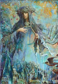 Fantastic fantasy added a new photo. Art And Illustration, Illustrations, Silk Painting, Figure Painting, Fantasy Kunst, Fantasy Art, Wow Art, Angel Art, Visionary Art