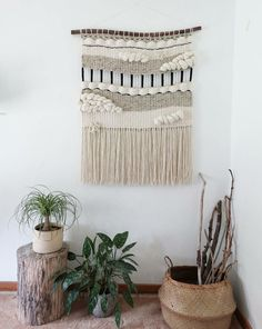 """Items similar to Large Woven Tapestry Wall Hanging, Macramé Wall Hanging, Mid Century Modern """"Geo"""" on Etsy Weaving Wall Hanging, Tapestry Wall Hanging, Hanging Storage, Wall Hangings, Wall Paint Patterns, Weaving Projects, Macrame Projects, Macrame Art, Macrame Knots"""