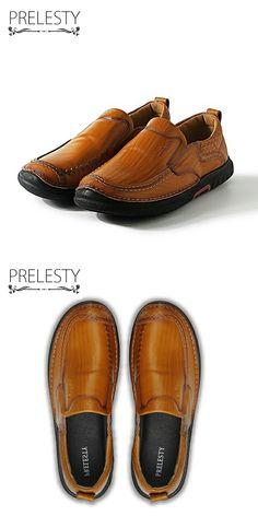 >> купить здесь << Prelesty Новый Дизайн Натуральная Кожа Мужчины Квартиры Черный Коричневый Мужская Кожаная Обувь Для Мужчин Zapatos Hombres Зрелый Мужчина Скольжения Дополнений