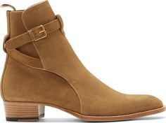 Saint Laurent Ankle-high suede boots in camel. $1145.00