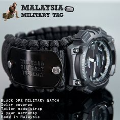 Black ops paracord military watch customize by malaysiamilitarytag