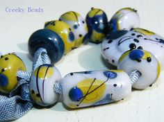 Handmade Lampwork beads Dandelion Creeky Beads SRA by CreekyBeads, $20.00