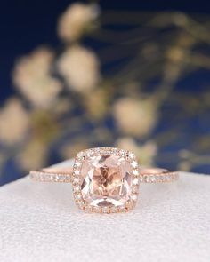 Hey, I found this really awesome Etsy listing at https://www.etsy.com/listing/510139674/cushion-cut-morganite-engagement-ring