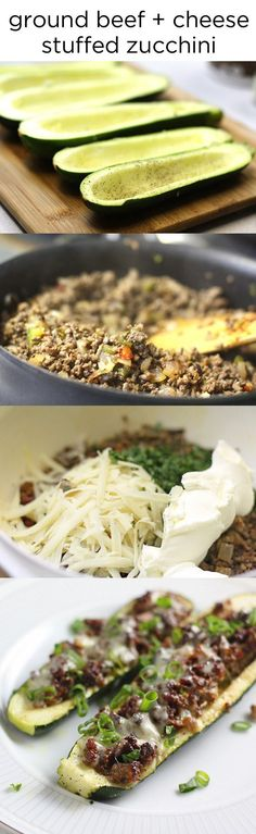 Ground Beef + Cheese Stuffed Zucchini 7 Quick Dinners To Make This Week (I would use ground turkey here. Low Carb Recipes, Cooking Recipes, Healthy Recipes, No Carb Dinner Recipes, Quick Beef Recipes, Turkey Recipes, Healthy Snacks, Healthy Eating, Healthy Quick Dinners