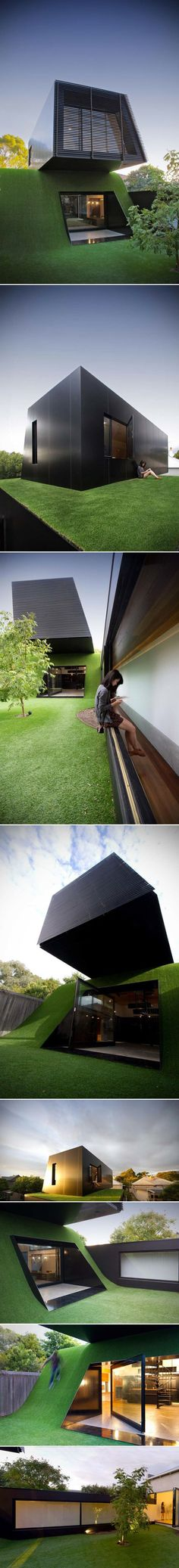 """Hill House by architect Andrew Maynard nice infographic Sublime accommodation in Melbourne by Andrew Maynard The week begins with this very big favorite architecture. This house called """"Hill House"""" is the work of architect Andrew Maynard . The main idea is to create a false hill and integrate a module to the ultra-minimalist design."""