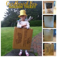 Cardboard box craft: golden ticket Roald Dahl costume