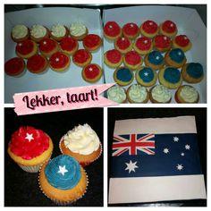 Taart en cupcakes voor iemand die gaat emigreren naar Australië.