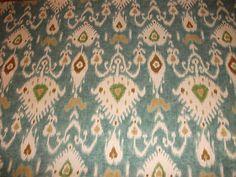 WOW High End Designer Kravet Turquoise Gold Ikat Drapery Upholstery Fabric BTY   eBay