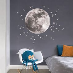 Moon And Stars Fabric Wall Sticker
