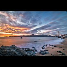 Marshall's Beach at sunset - San Francisco - CA