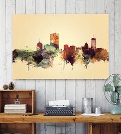 Boston watercolor, Boston print, Poster, Boston Massachusetts skyline, City…