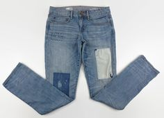 Scarcrow costume perhaps? GAP 1969 Real Straight Distressed Patched Jeans Women's Size 28 / 6  #GAP…