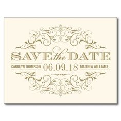 Ivory and Gold Save the Date   Swirl and Flourish Postcards
