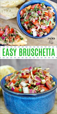 Are you looking for a quick party appetizer that is delicious and sure to please? Then look no further than thisEasy Bruschetta Recipe, which comes togetherin just minutes. #bruschettarecipe #easyrecipe #recipes