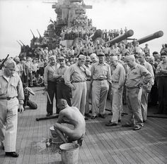 """""""Japanese prisoners of war are bathed, clipped, """"deloused,"""" and issued GI clothing as soon as they are taken aboard the USS New Jersey"""" By Lt. Charles Fenno Jacobs, December /u/michaelconfoy Okinawa, Us History, Black History, Creepy History, Strange History, New Jersey, War Photography, Prisoners Of War, Military Photos"""