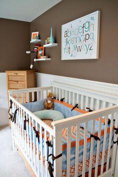 Aqua Brown Orange Nursery- Love the dark brown walls with white. Baby Boy Rooms, Baby Boy Nurseries, Baby Room, Boy Nursey, Brown Nursery, Orange Nursery, Simple Baby Nursery, Nursery Room, Nursery Ideas
