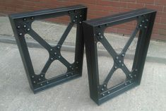 Authentic industrial table legs, featuring genuine 5/8 hot riveted construction. Victorian engineering in the modern age with no welding whatsoever. These table legs are intended for combination with table tops of any kind, and in particular with live edge slabs. Table top can