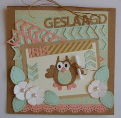 Card by Suzan with Collectables Family Owl Craftables Square Circle & Flower and Stitch Alphabet and Design Folder Extra - Tire Track by Marianne Design Owl Punch Cards, Owl Card, Folder Design, Marianne Design, Graduation Cards, Diy Cards, Cardmaking, Projects To Try, Joy