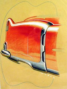 """Ref# 190 Date: circa 1953 Artist: Signed """"Weber"""" Make: Cadillac Type: Styling proposal Medium: Watercolor and colored pencil Size: 11 x 8.5 Comments: Tail fin detail"""