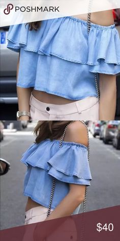 Zara frill denim off shoulder top M New with tag. Leave me a comment if you have any question or need to see actual pictures of the top. Thank you (: Zara Tops