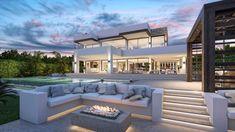 Villas, Outdoor Fireplace Designs, Modern Villa Design, Dream House Exterior, Modern Bedroom, Bedroom Small, Luxury Villa, Luxury Homes, Luxury Life