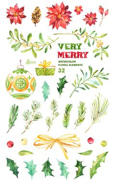 Very Merry. Watercolor clipart by OctopusArtis Watercolor Clipart, Floral Watercolor, Watercolour, Watercolor Paintings, Christmas Doodles, Christmas Clipart, Mistletoe, Merry, Clip Art