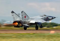 The Mikoyan-Gurevich MiG-25 (Russian: Микоян и Гуревич МиГ-25) (NATO reporting name: Foxbat) is a supersonic interceptor and reconnaissance aircraft that was among the fastest military aircraft to enter service. Designed by the Soviet Union's Mikoyan-Gurevich bureau the first prototype flew in 1964 with entry into service in 1970. It has a top speed of Mach 2.83+ (as high as Mach 3.2, but at risk of significant damage to the engines), and features a powerful radar and four air-to-air missile...