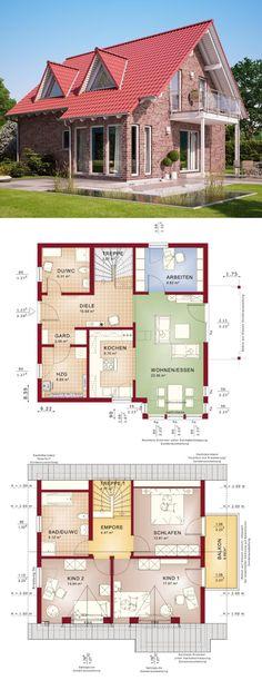 Satteldach-Haus mit Klinker Fassade & Spitzgaube - Grundriss Einfamilienhaus Architektur Solution 134 V2 Living Haus Fertighaus bauen - HausbauDirekt.de