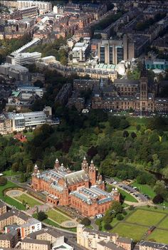 Aerial shot of Kelvingrove & Glasgow University, Glasgow, Scotland Scotland Uk, England And Scotland, Edinburgh Scotland, Scotland Travel, Newark Castle, Glasgow Architecture, Glasgow University, Cairngorms, Scottish Castles
