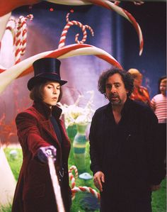 Johnny Depp and Tim Burton on the set of Charlie and the Chocolate Factory (2005)