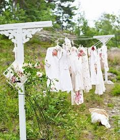 Clothesline...I remember hanging them for mom, bringing them in, 'sprinkling' them for hours of ironing. Sweet days. ;)
