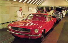 1965 Ford Mustang Assembly Line in Dearborn, Michigan. Looks like a non-GT K-code Fastback - sweeeet!