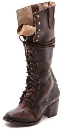 FREEBIRD by Steven Granny Tall Combat Boots, These wrinkled leather FREEBIRD by Steven boots are a hybrid of combat and granny styles. Antiqued hardware accents the lace-up closure, and tonal seaming contours the sides. Pull-tabs detail the top line. Exposed back zip. Stacked heel and welted leather sole.
