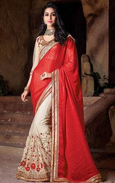 Picture of Luscious Scarlet and Cream Party Wear Sari Online