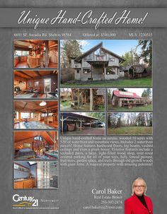 #NEWLISTING    Unique hand-crafted home on serene, wooded 10 acres with 520' of waterfront and mountain views. Includes 2 waterfront parcels! Home features hardwood floors, log beams, vaulted ceilings and even a green house. Exterior features include a secluded patio, a large, light-filled wood shop, over-sized covered parking for all of your toys, fully fenced pasture, fruit trees, garden space, and trails through old growth woods with giant ferns. A magical property with amazing potential!