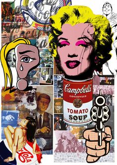 A Pop Art collage combining the work and style of Andy Warhol, Mel Ramos, Peter…