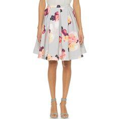 Keepsake Divide Skirt - Light Flower Bloom ($192) found on Polyvore featuring skirts, white circle skirt, flare skirt, white skirt, skater skirt and circle skirt