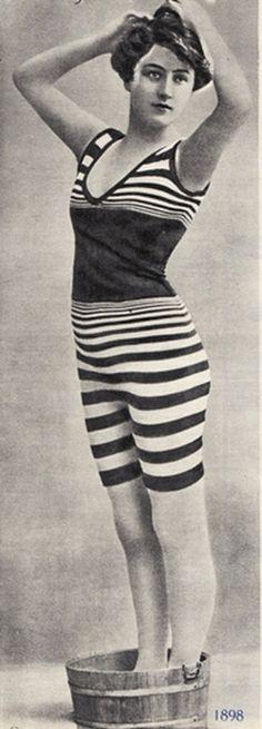 Striped bathing suit, c. 1898.