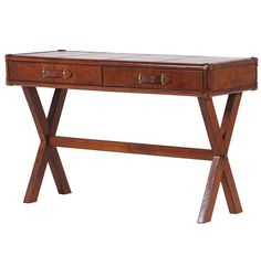 Leather trunk Style 2 Drawer Writing Table