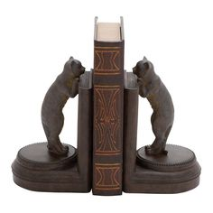 Polystone Leaning Cat Bookend in Brown (Set of 2)